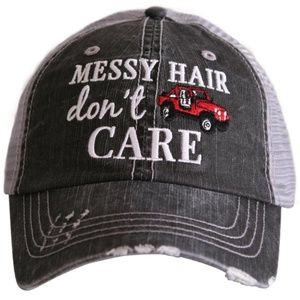 01c98e8ae95 katydid Accessories - MESSY HAIR DON T CARE trucker baseball hat RED JEE